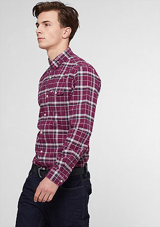 Slim: check shirt with denim details from s.Oliver