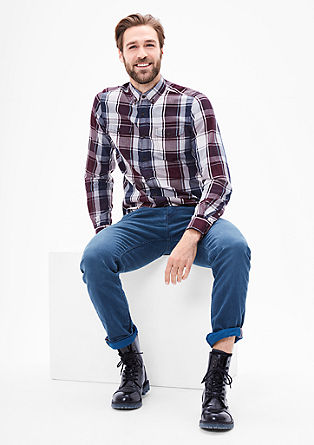 Slim: cotton shirt with a large check pattern from s.Oliver