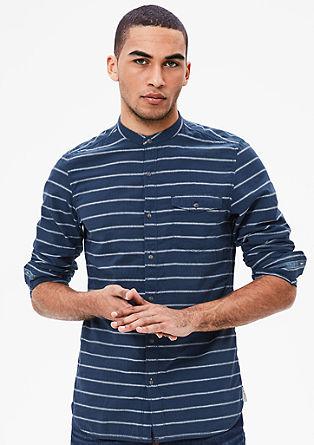 Slim: črtasta majica s stoječim ovratnikom