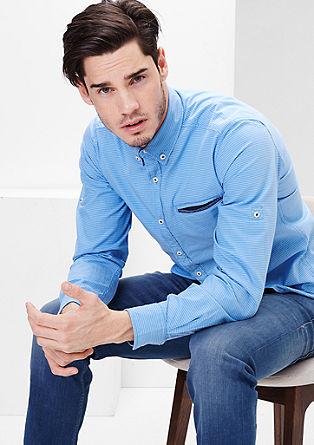 Slim: Črtasta srajca z žepom z obrobo