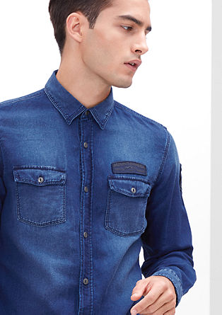Slim: denim shirt with appliqués from s.Oliver
