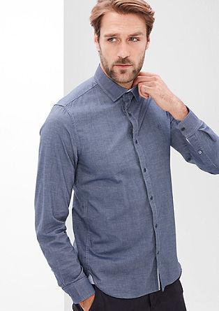 Slim: fijn gemêleerd katoenen overhemd