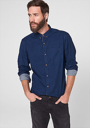 Slim: Gemustertes Button-Down-Hemd