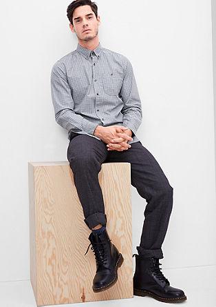 Slim: geruit overhemd met buttondownkraag