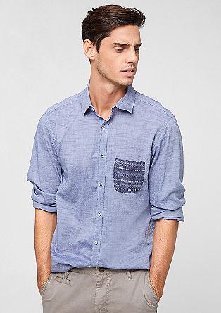 Slim: Hemd mit gemusterter Tasche