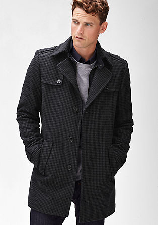 Slim: Houndstooth wool coat from s.Oliver