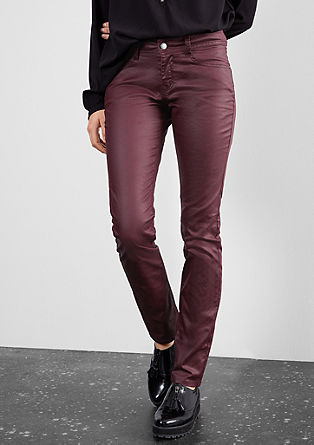 Slim: Imitation leather trousers from s.Oliver