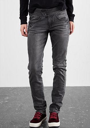 Slim: jeans hlače obrabljenega videza s prešitimi elementi