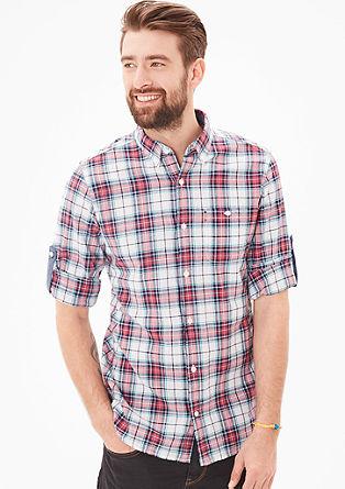 Slim: Kariertes Hemd mit Leinen