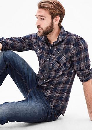 Slim: Karirasta srajca, barvana s hladnim postopkom pigmentiranja