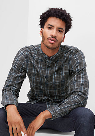 Slim: Karohemd mit Logo-Stitching
