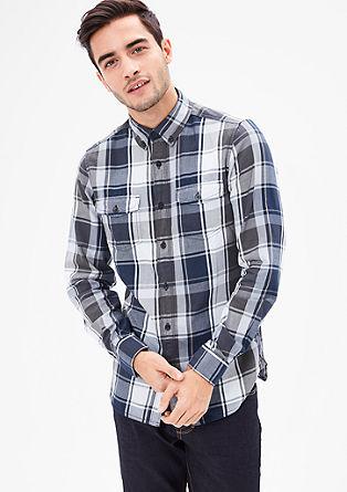 Slim: katoenen overhemd met grote ruiten