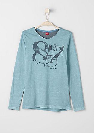 Slim: Langarmshirt im Used-Look