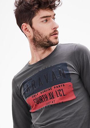 Slim: Langarmshirt mit Print