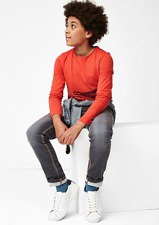 Slim: Longshirt mit Print
