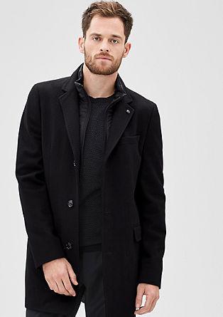 Slim: Mantel van een wolmix met inzet