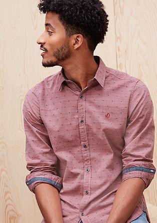 Slim: Musterhemd mit Denim-Details