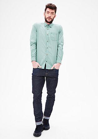Slim: overhemd met structuurmotief