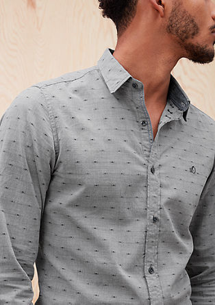 Slim: patterned shirt with denim details from s.Oliver