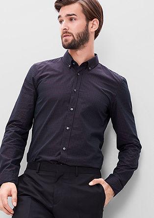 Slim: Poplin overhemd met fijne ruit