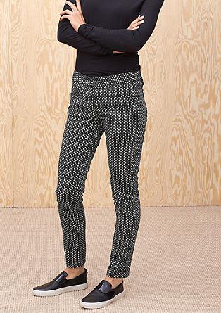 Slim: Satijnen broek met een minimalistisch dessin