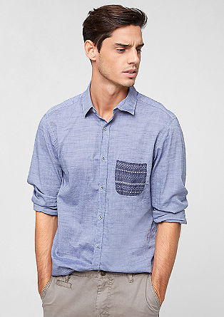 Slim: shirt with a patterned pocket from s.Oliver
