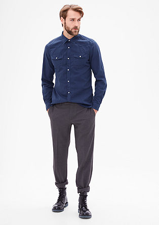 Slim: shirt with a press stud placket from s.Oliver