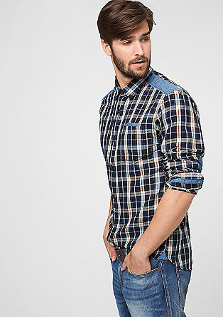 Slim: shirt with denim details from s.Oliver