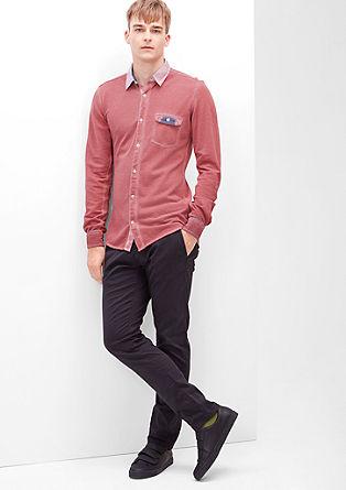 Slim: srajca iz pikéja s posebnim učinkom barvnega pranja