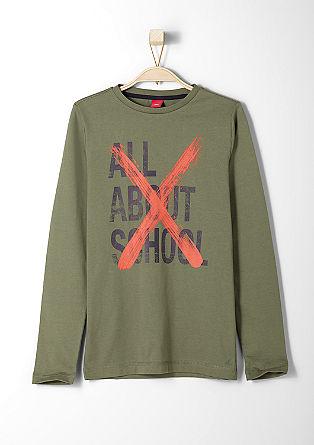 Slim: Statement-Shirt aus Jersey
