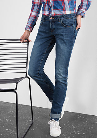 Slim: Stretch-Jeans im Used-Look