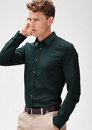 Slim: stretch overhemd met lange mouwen