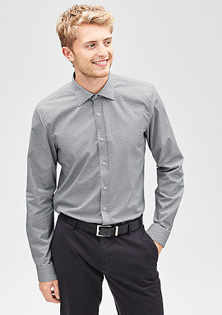 Slim: stretch overhemd met motief
