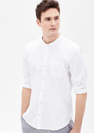 Slim: Strukturhemd mit Stehkragen