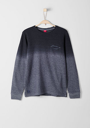 Slim: sweatshirt pulover s prehajanjem barv