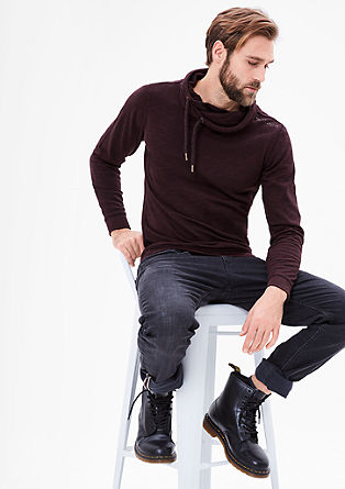 Slim: sweatshirt with a shawl collar from s.Oliver