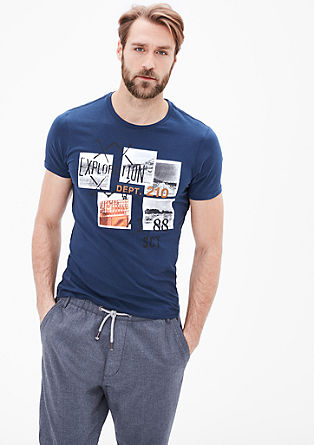 Slim: T-Shirt mit Print-Collage