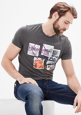 Slim: T-Shirt mit Print-Collage