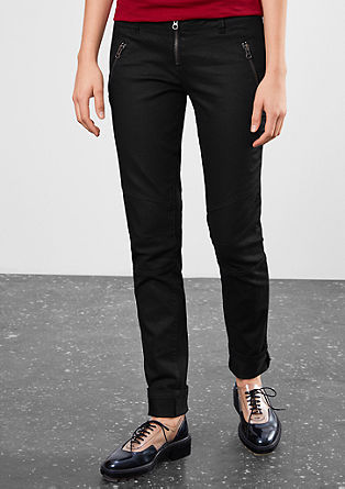 Slim: trousers with zip details from s.Oliver