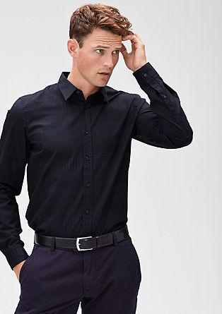 Slim: two-tone-overhemd met dessin