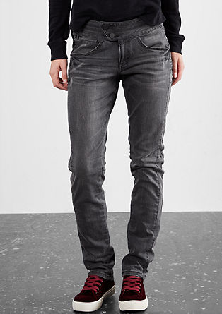 Slim: Used-Jeans mit Stitchings