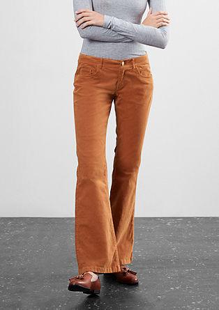 Slim:hlače iz rebrastega žameta na zvon