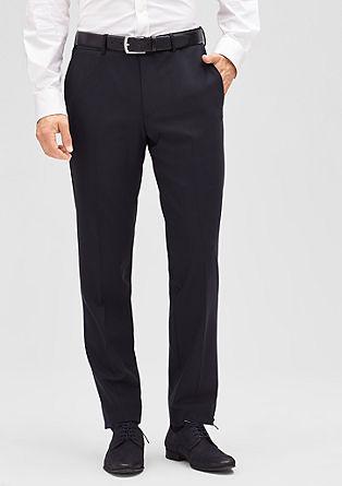 Slim fit: broek van schuurwol en stretch