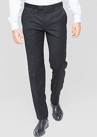 Slim fit: business pantalon met naaldstrepen