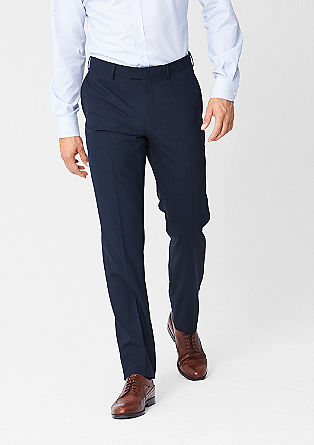 Slim fit: business pantalon van een scheerwolmix