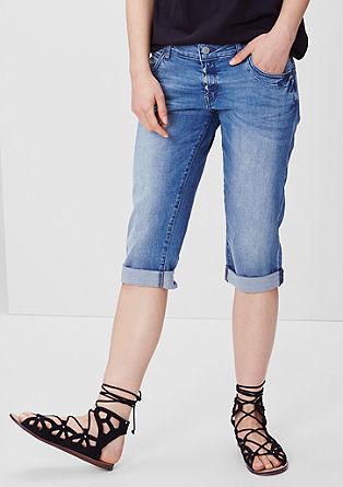 Slim fit: Capri-jeans met een knoopsluiting