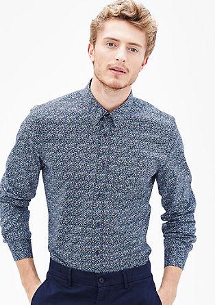 Slim fit: gebloemd stretch overhemd