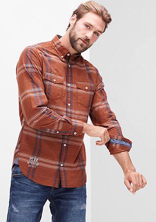 Slim fit: geruit overhemd met een garment-washed effect