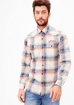 Slim fit: geruit overhemd van katoen