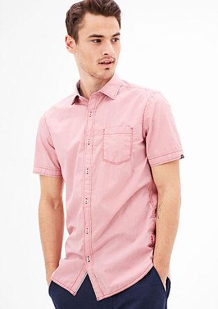 Slim fit: katoenen overhemd met korte mouwen